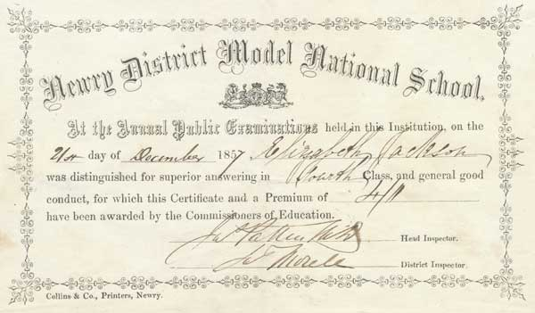 1857 Newr School report card
